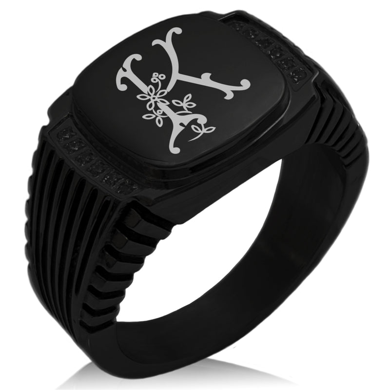 Stainless Steel Letter K Alphabet Initial Floral Monogram CZ Ribbed Needle Stripe Pattern Biker Style Polished Ring - Tioneer