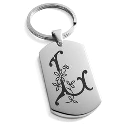 Stainless Steel Letter L Alphabet Initial Floral Monogram Engraved Dog Tag Keychain Keyring - Tioneer