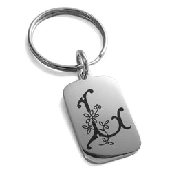 Stainless Steel Letter L Initial Floral Monogram Engraved Small Rectangle Dog Tag Charm Keychain Keyring - Tioneer