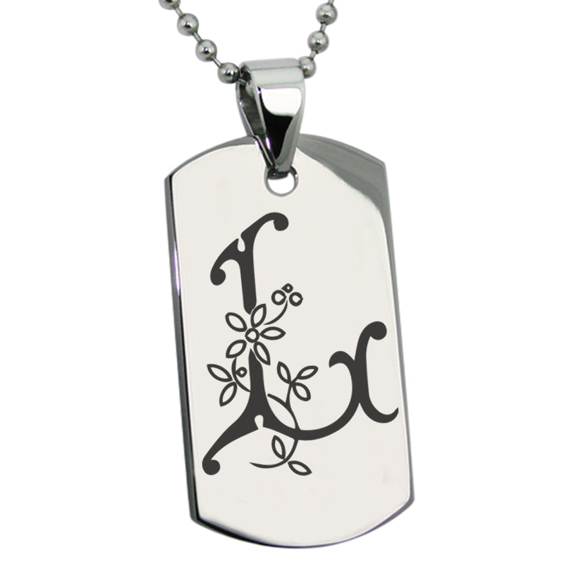 Stainless Steel Letter L Alphabet Initial Floral Monogram Engraved Dog Tag Pendant Necklace - Tioneer