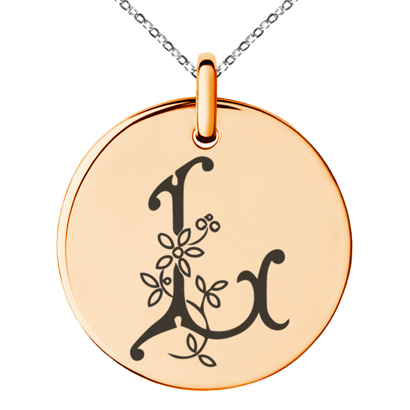 Stainless Steel Letter L Initial Floral Monogram Engraved Small Medallion Circle Charm Pendant Necklace