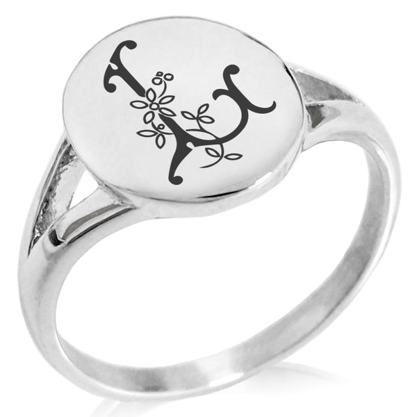 Stainless Steel Letter L Alphabet Initial Floral Monogram Minimalist Oval Top Polished Statement Ring - Tioneer