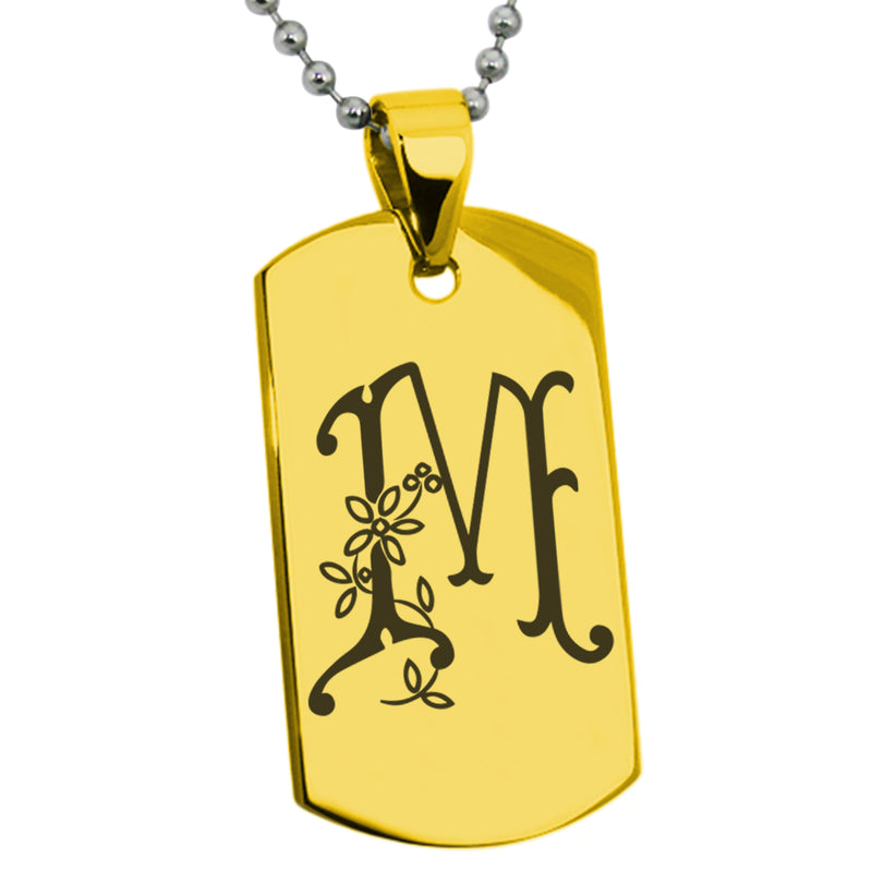 Stainless Steel Letter M Alphabet Initial Floral Monogram Engraved Dog Tag Pendant Necklace - Tioneer