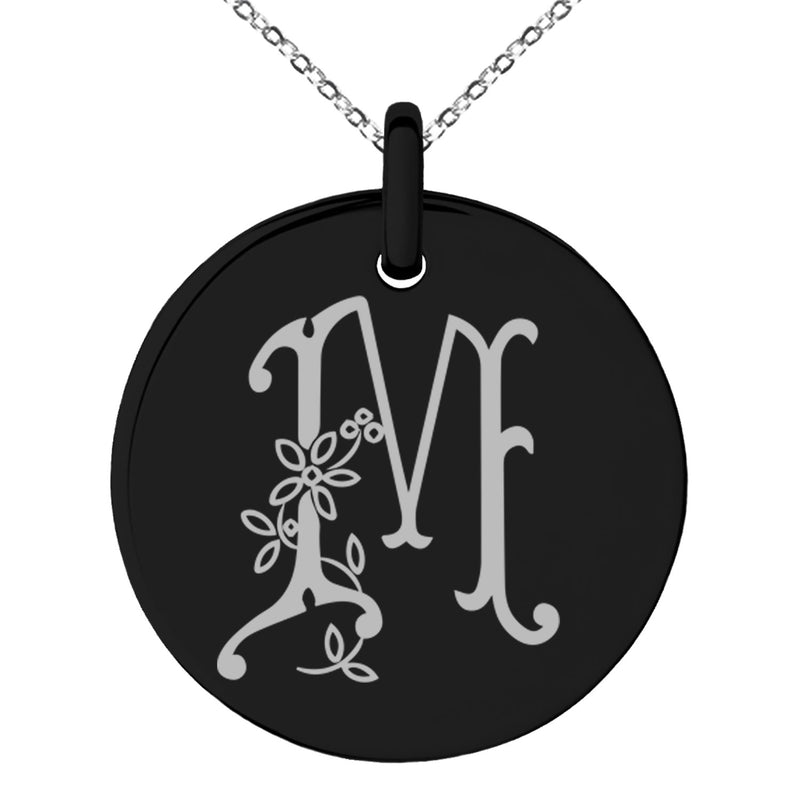 Stainless Steel Letter M Initial Floral Monogram Engraved Small Medallion Circle Charm Pendant Necklace