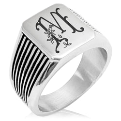 Stainless Steel Letter M Alphabet Initial Floral Monogram Needle Stripe Pattern Biker Style Polished Ring - Tioneer