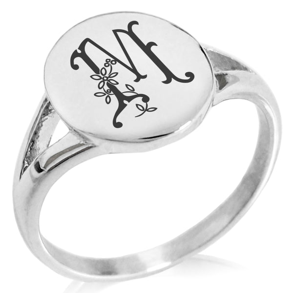 Stainless Steel Letter M Alphabet Initial Floral Monogram Minimalist Oval Top Polished Statement Ring - Tioneer