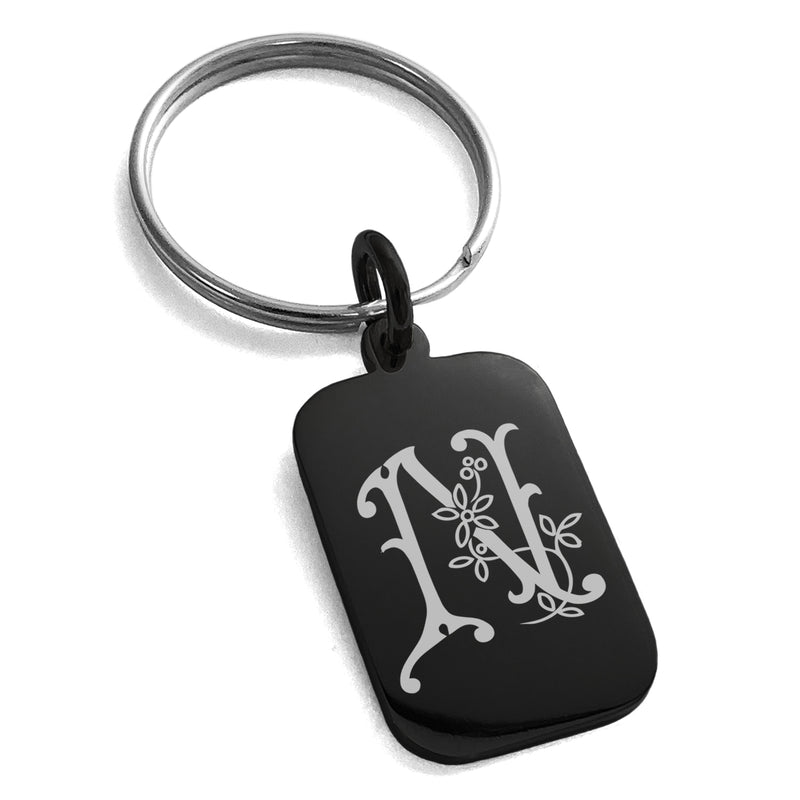 Stainless Steel Letter N Initial Floral Monogram Engraved Small Rectangle Dog Tag Charm Keychain Keyring - Tioneer