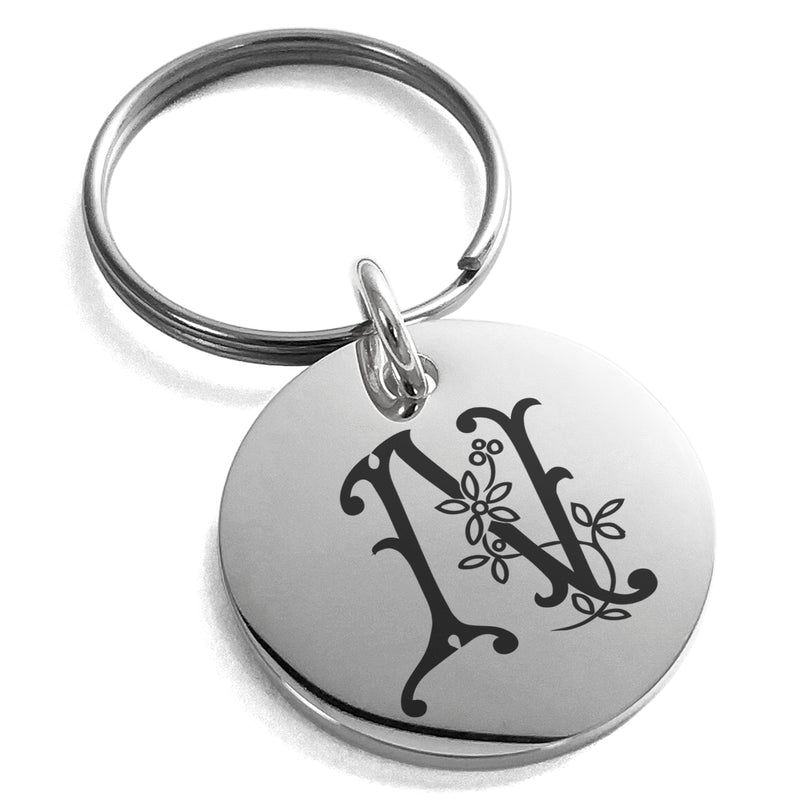 Stainless Steel Letter N Initial Floral Monogram Engraved Small Medallion Circle Charm Keychain Keyring - Tioneer