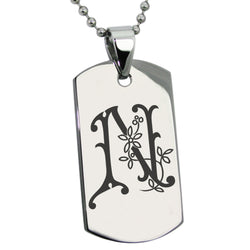 Stainless Steel Letter N Alphabet Initial Floral Monogram Engraved Dog Tag Pendant Necklace - Tioneer