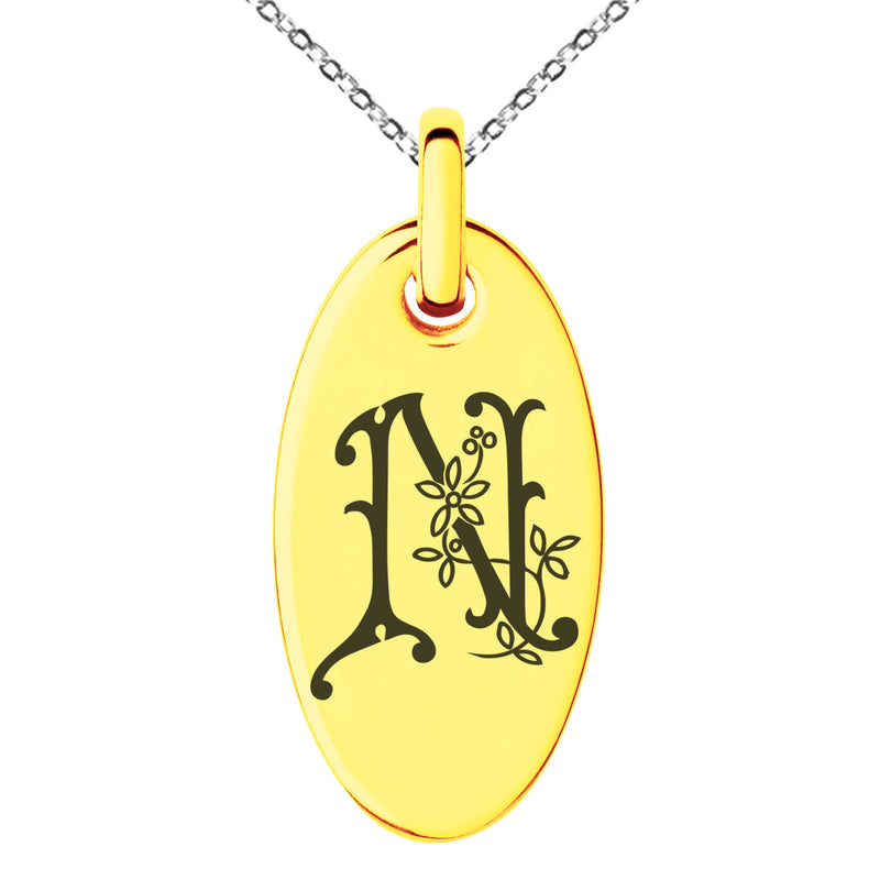 Stainless Steel Letter N Initial Floral Monogram Engraved Small Oval Charm Pendant Necklace