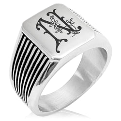 Stainless Steel Letter N Alphabet Initial Floral Monogram Needle Stripe Pattern Biker Style Polished Ring - Tioneer