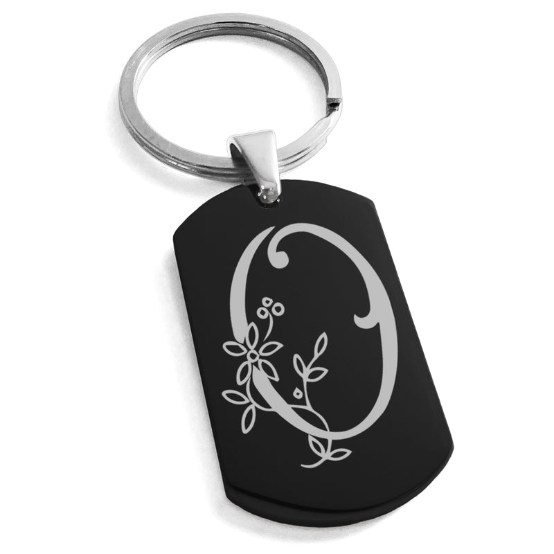 Stainless Steel Letter O Alphabet Initial Floral Monogram Engraved Dog Tag Keychain Keyring - Tioneer