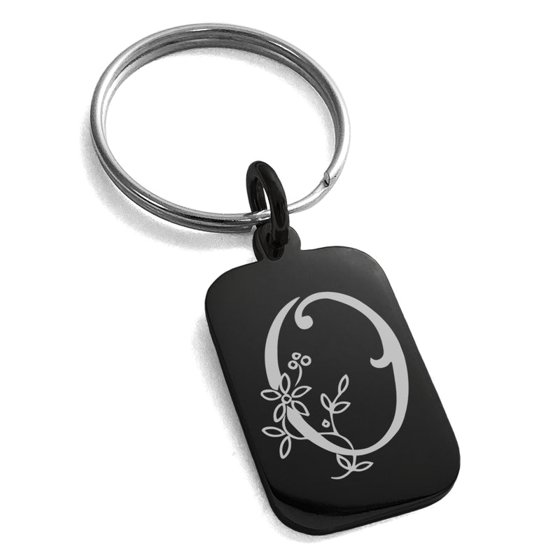 Stainless Steel Letter O Initial Floral Monogram Engraved Small Rectangle Dog Tag Charm Keychain Keyring - Tioneer