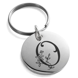 Stainless Steel Letter O Initial Floral Monogram Engraved Small Medallion Circle Charm Keychain Keyring - Tioneer