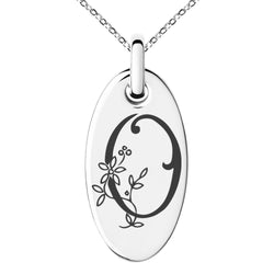 Stainless Steel Letter O Initial Floral Monogram Engraved Small Oval Charm Pendant Necklace