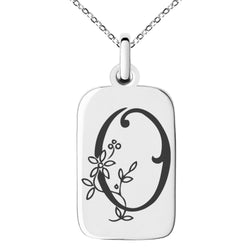 Stainless Steel Letter O Initial Floral Monogram Engraved Small Rectangle Dog Tag Charm Pendant Necklace