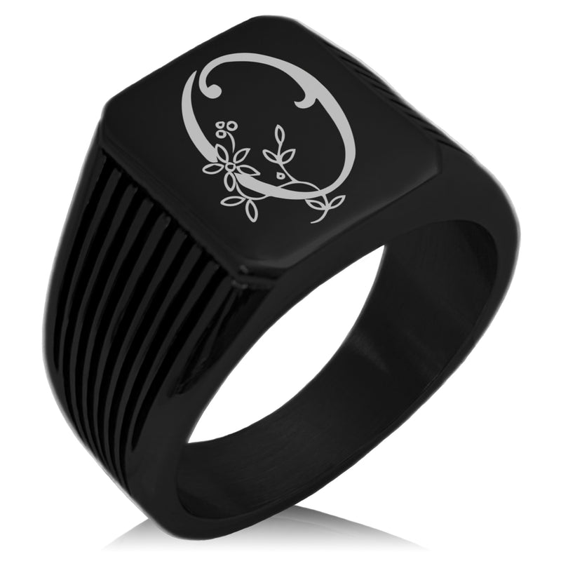 Stainless Steel Letter O Alphabet Initial Floral Monogram Needle Stripe Pattern Biker Style Polished Ring - Tioneer