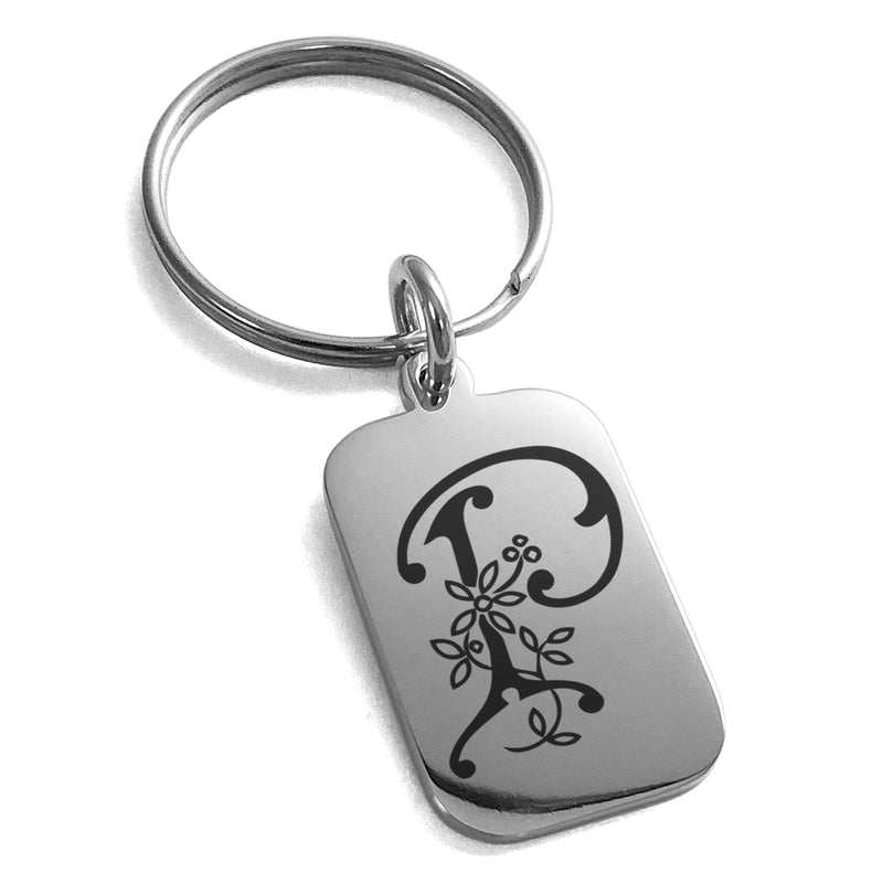 Stainless Steel Letter P Initial Floral Monogram Engraved Small Rectangle Dog Tag Charm Keychain Keyring - Tioneer