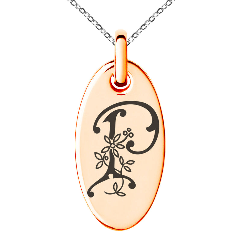 Stainless Steel Letter P Initial Floral Monogram Engraved Small Oval Charm Pendant Necklace