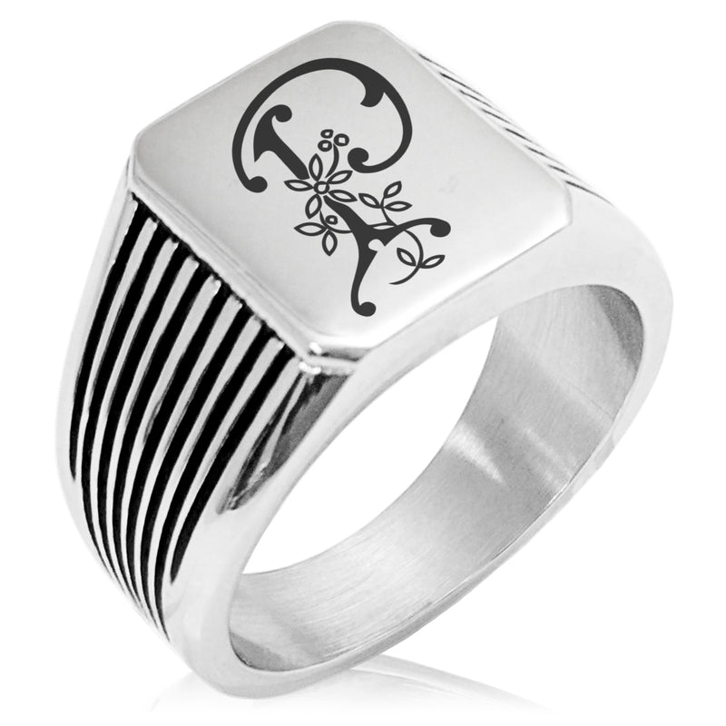 Stainless Steel Letter P Alphabet Initial Floral Monogram Needle Stripe Pattern Biker Style Polished Ring - Tioneer