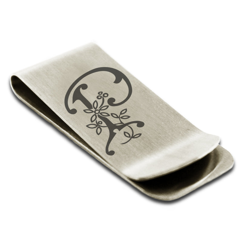 Stainless Steel Letter P Alphabet Initial Floral Monogram Engraved Money Clip Credit Card Holder - Tioneer
