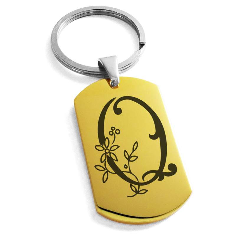 Stainless Steel Letter Q Alphabet Initial Floral Monogram Engraved Dog Tag Keychain Keyring - Tioneer
