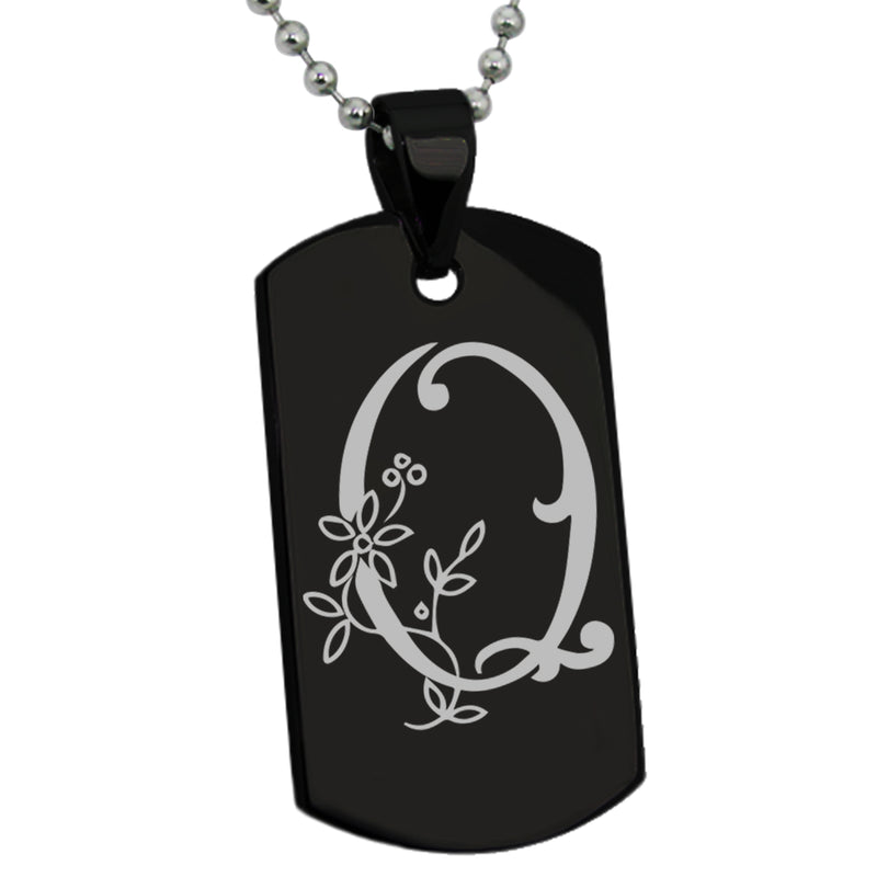 Stainless Steel Letter Q Alphabet Initial Floral Monogram Engraved Dog Tag Pendant Necklace - Tioneer