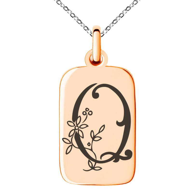 Stainless Steel Letter Q Initial Floral Monogram Engraved Small Rectangle Dog Tag Charm Pendant Necklace