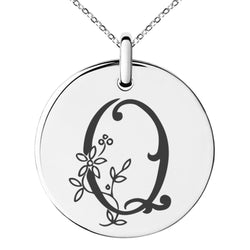 Stainless Steel Letter Q Initial Floral Monogram Engraved Small Medallion Circle Charm Pendant Necklace