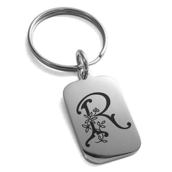 Stainless Steel Letter R Initial Floral Monogram Engraved Small Rectangle Dog Tag Charm Keychain Keyring - Tioneer