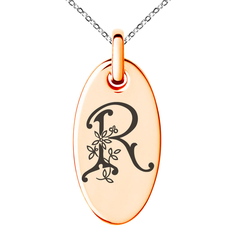 Stainless Steel Letter R Initial Floral Monogram Engraved Small Oval Charm Pendant Necklace