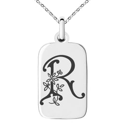 Stainless Steel Letter R Initial Floral Monogram Engraved Small Rectangle Dog Tag Charm Pendant Necklace