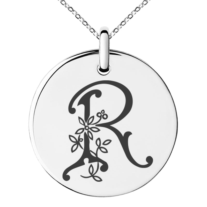 Stainless Steel Letter R Initial Floral Monogram Engraved Small Medallion Circle Charm Pendant Necklace