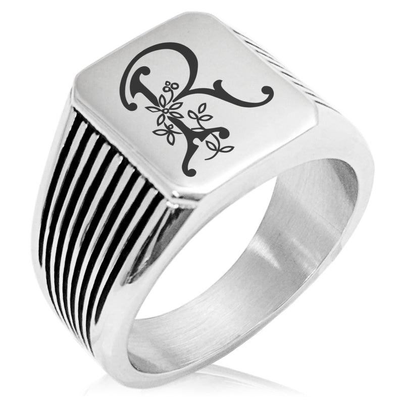 Stainless Steel Letter R Alphabet Initial Floral Monogram Needle Stripe Pattern Biker Style Polished Ring - Tioneer