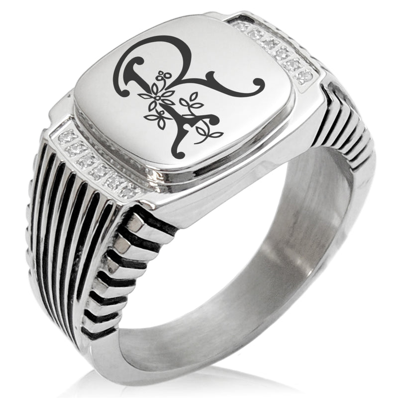 Stainless Steel Letter R Alphabet Initial Floral Monogram CZ Ribbed Needle Stripe Pattern Biker Style Polished Ring - Tioneer