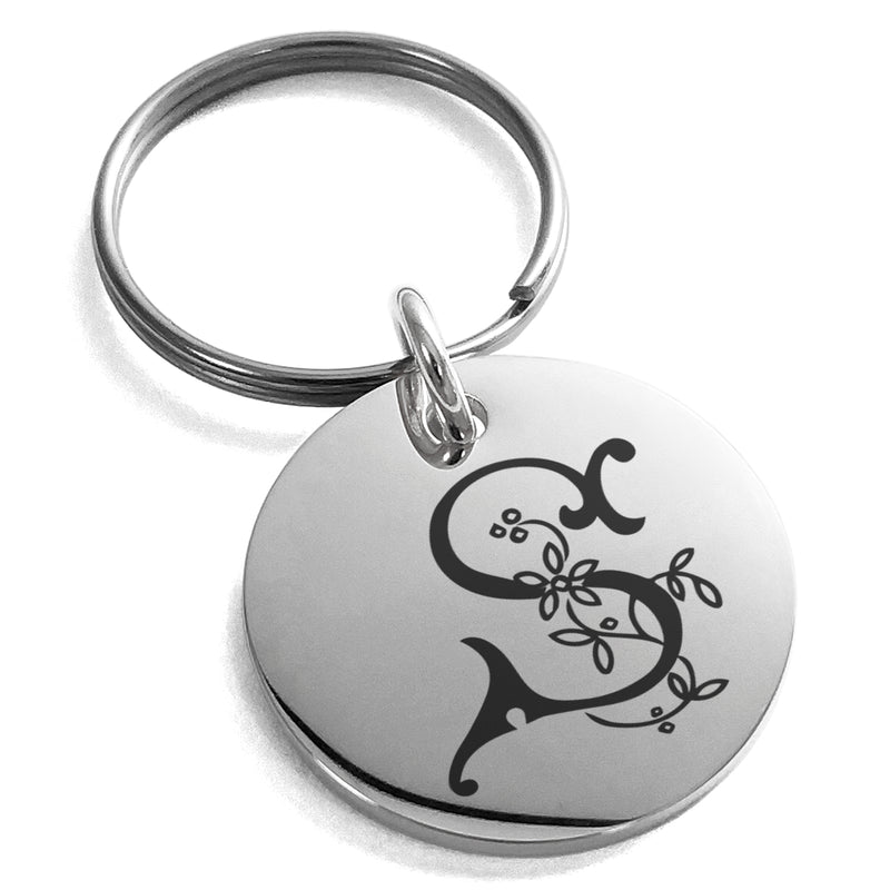 Stainless Steel Letter S Initial Floral Monogram Engraved Small Medallion Circle Charm Keychain Keyring - Tioneer