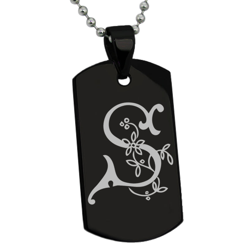 Stainless Steel Letter S Alphabet Initial Floral Monogram Engraved Dog Tag Pendant Necklace - Tioneer