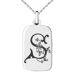 Stainless Steel Letter S Initial Floral Monogram Engraved Small Rectangle Dog Tag Charm Pendant Necklace