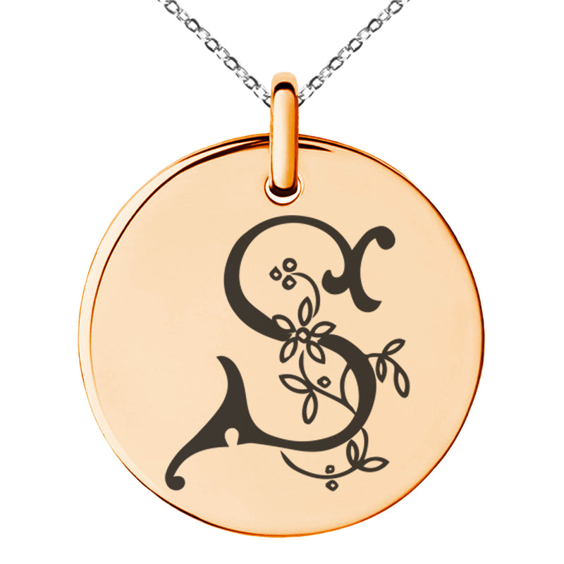 Stainless Steel Letter S Initial Floral Monogram Engraved Small Medallion Circle Charm Pendant Necklace
