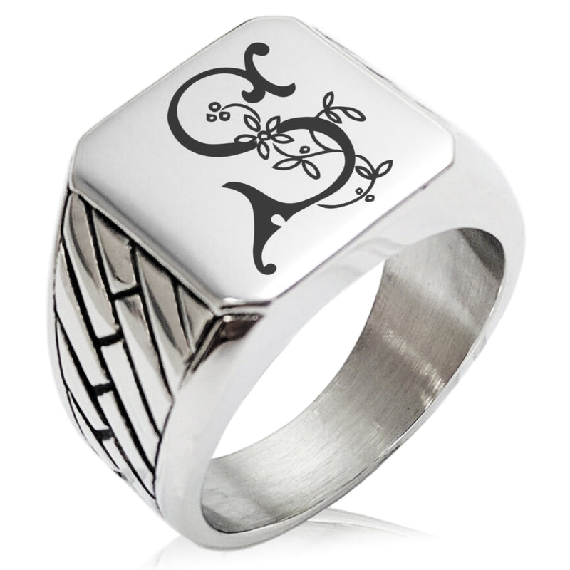 Stainless Steel Letter S Alphabet Initial Floral Monogram Geometric Pattern Biker Style Polished Ring - Tioneer