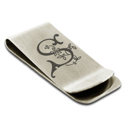 Stainless Steel Letter S Alphabet Initial Floral Monogram Engraved Money Clip Credit Card Holder - Tioneer