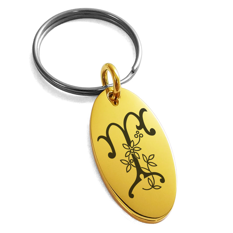 Stainless Steel Letter T Initial Floral Monogram Engraved Small Oval Charm Keychain Keyring - Tioneer