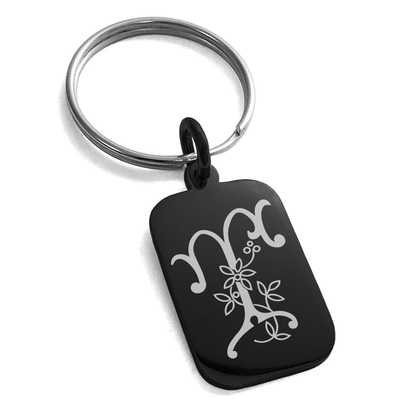 Stainless Steel Letter T Initial Floral Monogram Engraved Small Rectangle Dog Tag Charm Keychain Keyring - Tioneer