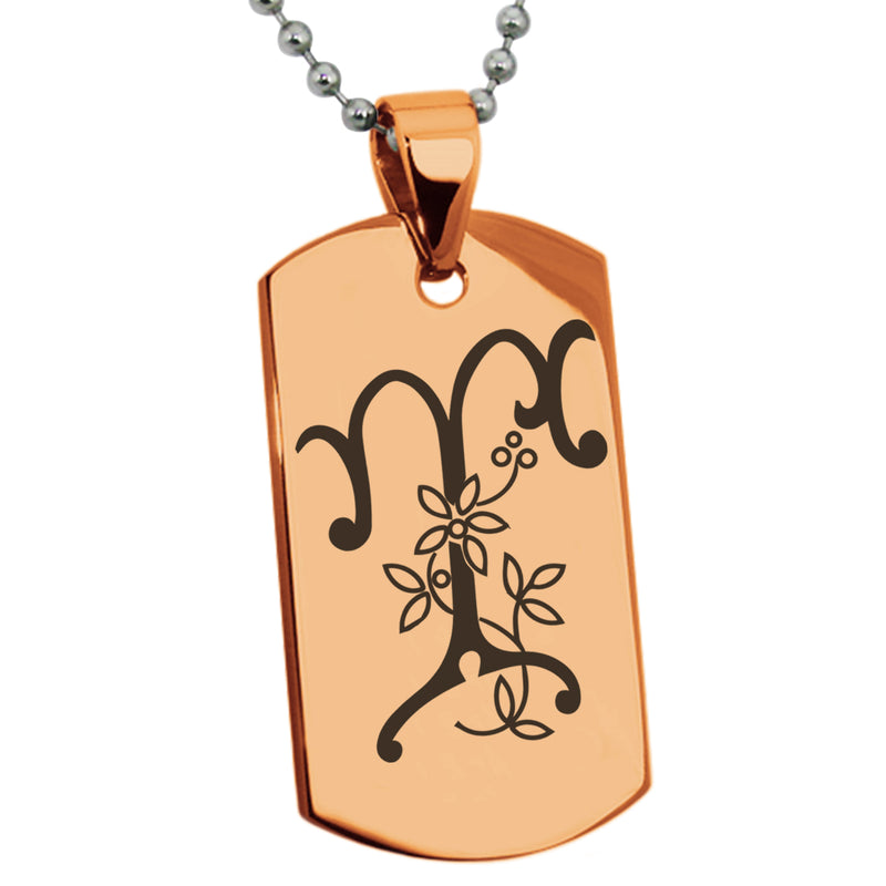 Stainless Steel Letter T Alphabet Initial Floral Monogram Engraved Dog Tag Pendant Necklace - Tioneer