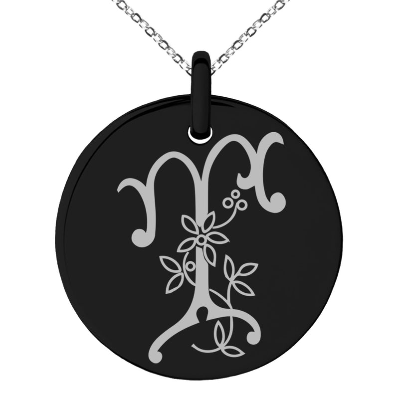 Stainless Steel Letter T Initial Floral Monogram Engraved Small Medallion Circle Charm Pendant Necklace