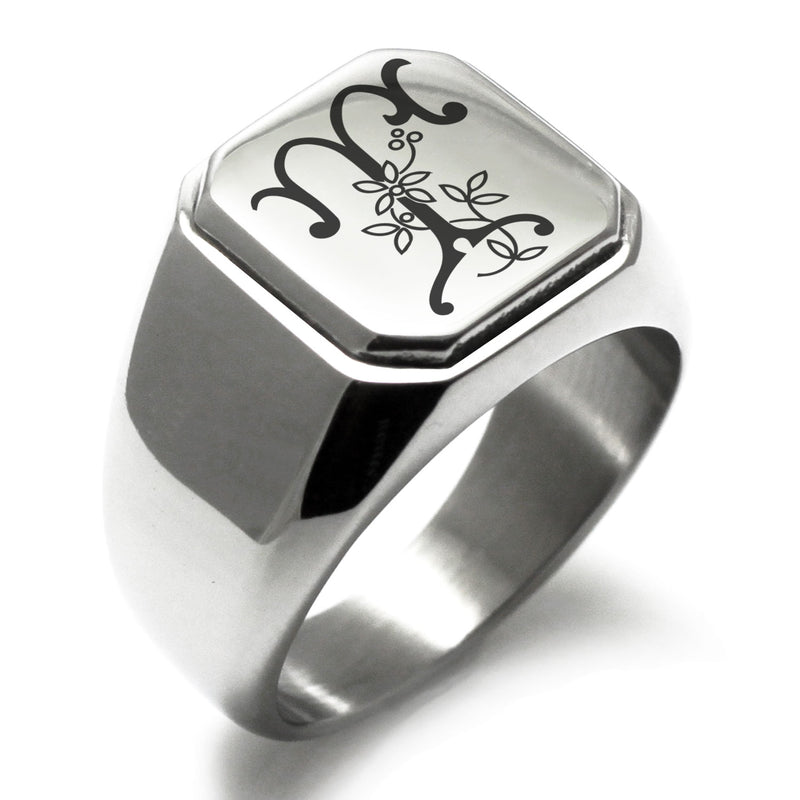 Stainless Steel Letter T Alphabet Initial Floral Monogram Engraved Square Flat Top Biker Style Polished Ring - Tioneer