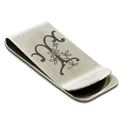Stainless Steel Letter T Alphabet Initial Floral Monogram Engraved Money Clip Credit Card Holder - Tioneer