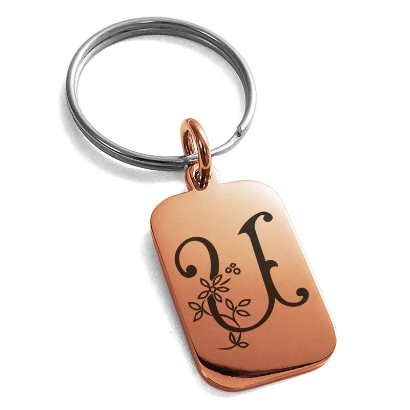 Stainless Steel Letter U Initial Floral Monogram Engraved Small Rectangle Dog Tag Charm Keychain Keyring - Tioneer