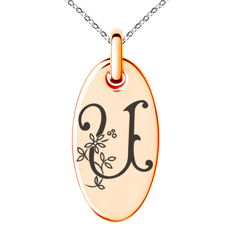 Stainless Steel Letter U Initial Floral Monogram Engraved Small Oval Charm Pendant Necklace