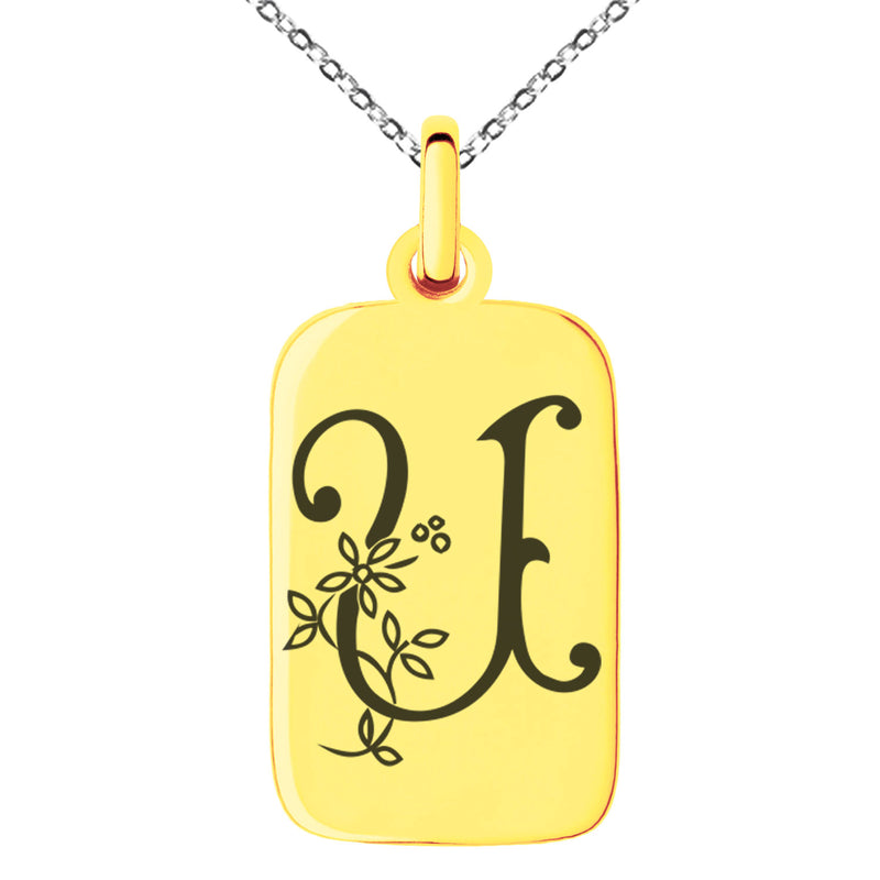 Stainless Steel Letter U Initial Floral Monogram Engraved Small Rectangle Dog Tag Charm Pendant Necklace